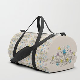 Shabby Chic vintage lily flowers bouquet and birds 1 Duffle Bag