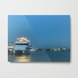 Pretty blue sky and boats at Nelsons Bay, NSW, Australia Metal Print