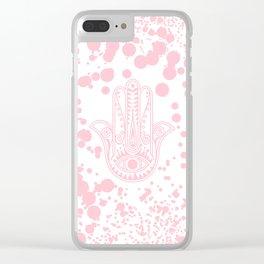 Modern blush pink confetti Hamsa Hand Of Fatima Clear iPhone Case