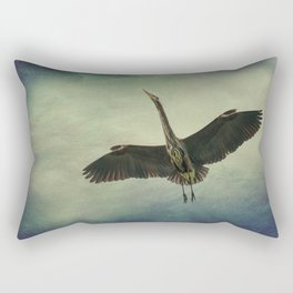 Great Blue Heron in the Night Sky Rectangular Pillow