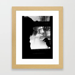 Woman and Bird Chill jjhelene Framed Art Print