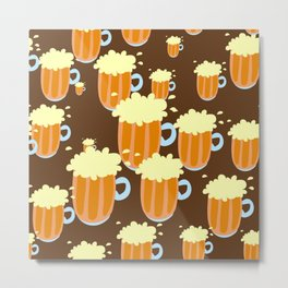 A fun cartoon frothy beer tiling pattern Metal Print