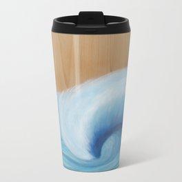 Wooden Wave Scape Metal Travel Mug