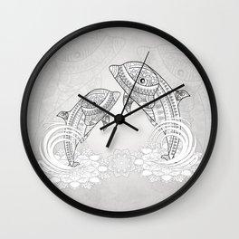 Beautiful dolphin, mandala design Wall Clock