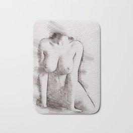Naked Woman Pencil Drawing Bath Mat
