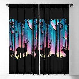 Silhouette Deep Forest & Animals 02 Blackout Curtain