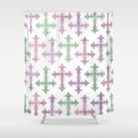 pastel goth Shower Curtains featuring Pastel Goth | Grunge by Glitterati Grunge