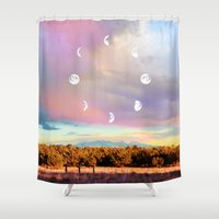 moon phases Shower Curtains featuring Moon Phases by LoveFreeMovement