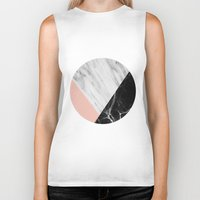 white marble Biker Tanks featuring Marble Collage by cafelab
