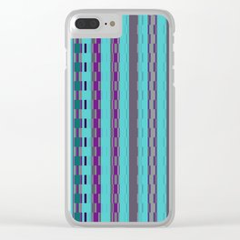 Modern Stripes Turquoise Purple Clear iPhone Case