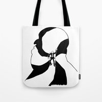 hitchcock Tote Bags featuring Hitchcock by Austin Hillebrecht