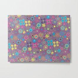 floreal pattern on purple background Metal Print