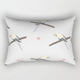 Seamless hand drawn pattern with beautiful couple of birds Rectangular Pillow