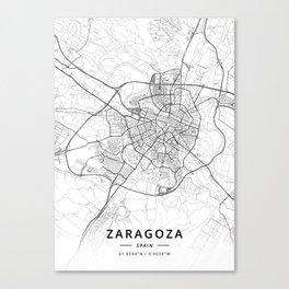 Zaragoza, Spain - Light Map Canvas Print