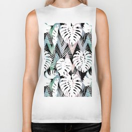 Blush pink green white hand painted tropical leaves chevron Biker Tank