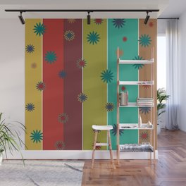 Retro Stripes + Floral Wall Mural