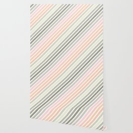 Living Coral Peach Pink Gray Pixel Stripes Wallpaper