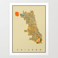 chicago map Art Prints featuring Chicago by Nicksman