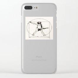 Guitar Man and Da Vinci Clear iPhone Case