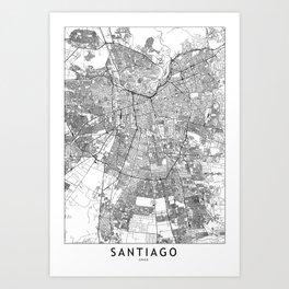 Santiago White Map Art Print