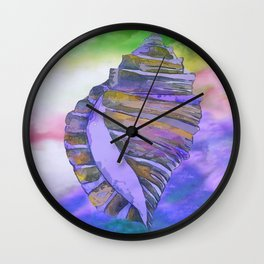 NAUTILUS CONCH SEA SHELL PURPLE IMPRESSIONS Wall Clock