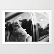 portrait through the car window Art Print