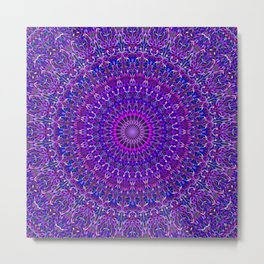 Lace Mandala in Purple and Blue Metal Print