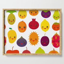 kawaii fruit Pear Mangosteen tangerine pineapple papaya persimmon pomegranate lime Serving Tray