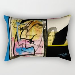 "Funky Face Abstract, ""I See 32"" by Kathy morton Stanion Rectangular Pillow"