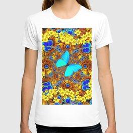 OPULENT YELLOW FLOWERS & BLUE SATIN BUTTERFLY ART T-shirt