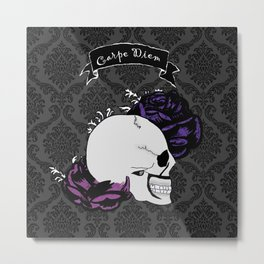 Skull Roses Metal Print