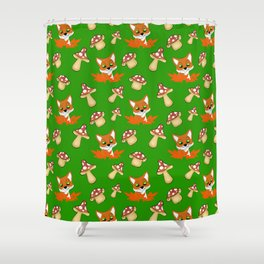 Cute happy red foxes, fallen leaves and wild forest mushrooms green nature pattern. Hello November Shower Curtain