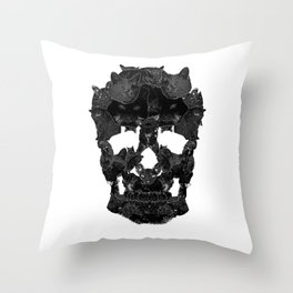 Sketchy Cat skull Throw Pillow