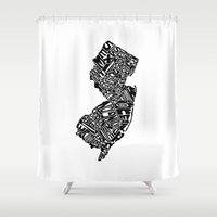 new jersey Shower Curtains featuring Typographic New Jersey by CAPow!