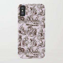 Alice in Wonderland | Toile de Jouy | Brown and Pink iPhone Case
