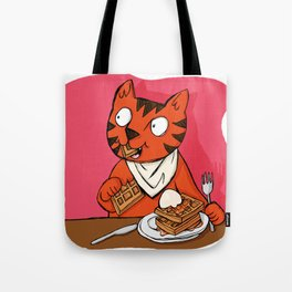 He's Eating Breakfast! Waffles Are Grrreat Anytime. Tote Bag
