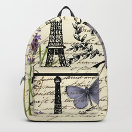 french botanical print purple butterfly lavender floral paris eiffel tower Backpack