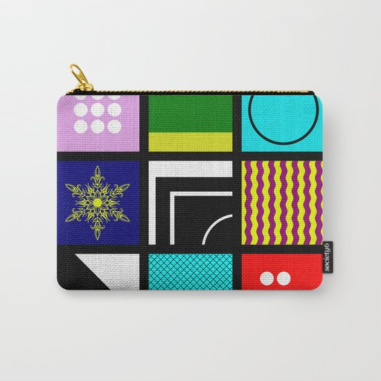 Eclectic 1 - Random collage of 9 bold colourful patterns in an abstract style Carry-All Pouch