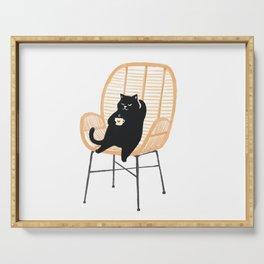 Lazy cat 2 enjoying coffee on rattan chair  Serving Tray
