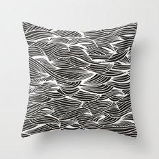 Waves – White Ink on Black Throw Pillow