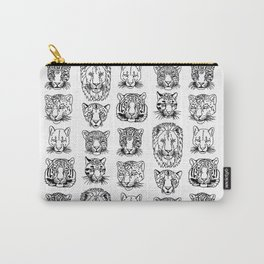 Kickass Kitties - black on white Carry-All Pouch