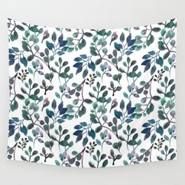 Jade and Succulent Watercolor Plant Pattern Wall Tapestry