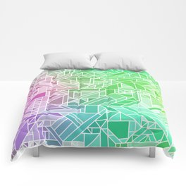 Bright Gradient (Violet Purple Lime Green Neon Yellow) Geometric Pattern Print Comforters