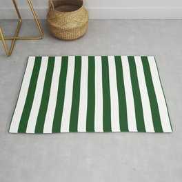 Large Forest Green and White Rustic Vertical Beach Stripes Rug