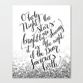 O holy night silver glitter Canvas Print