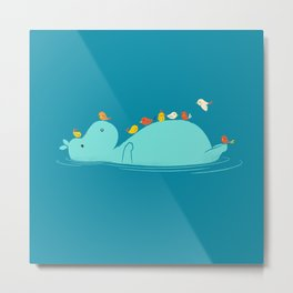 Floating Hippo Metal Print