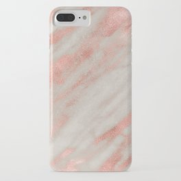 Smooth rose gold on gray marble iPhone Case