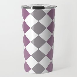 Lavender and gray square pattern Travel Mug