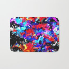 psychedelic splash painting abstract texture blue red pink black Bath Mat