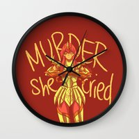 dramatical murder Wall Clocks featuring MURDER by El Cadejos